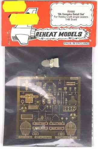 DH. Vampire Detail Set (Hobbycraft), Reheat Photoetched Parts, 1/48