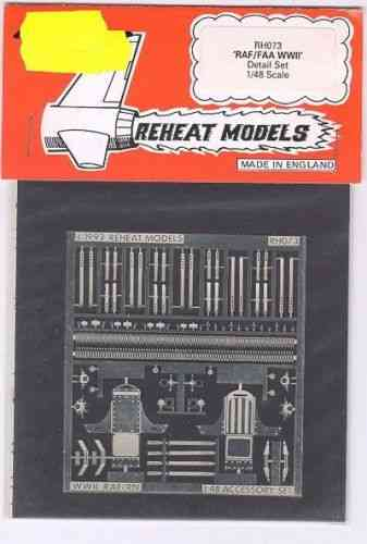 RAF/FAA Accessories Set  (Visors. Pedals, Ammo. etc.), Reheat Photoetched Parts, 1/48