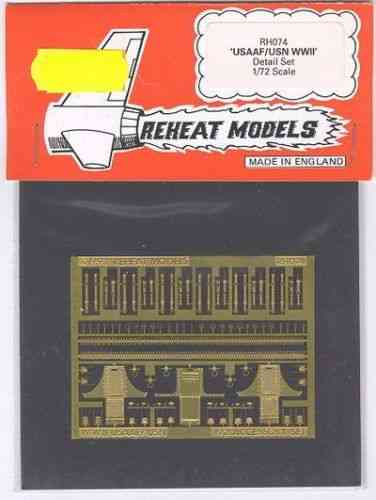USAAF/USN WWII Detail Set, Reheat Photoetched Parts, 1/72