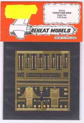 USAAF/USN Accessories Set (Visors, Seats, Ammo., etc.), Reheat Photoetched Parts, 1/48