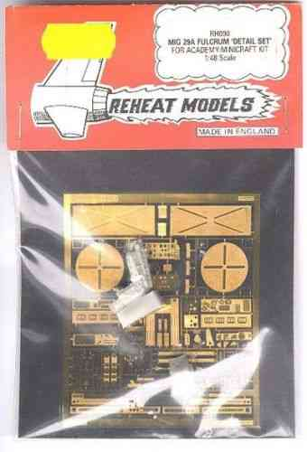 MIG-29A Fulcrum Detail Set (Academy/Minicraft), Reheat Photoetched Parts, 1/48
