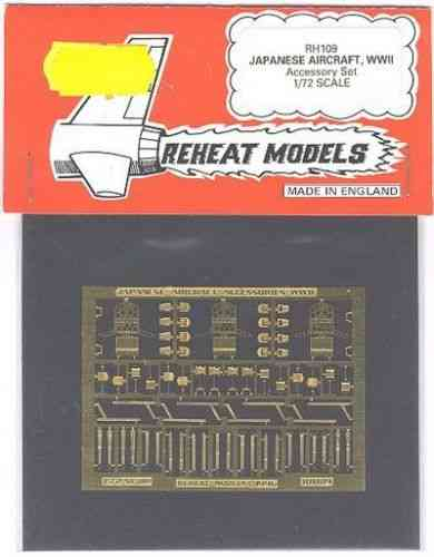 Japanese Aircraft WWII Accessory Set, Reheat Photoetched Parts, 1/72