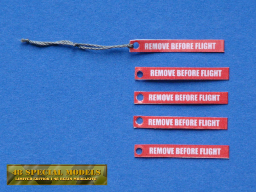 """Remove Before Flight"" Tags, 30x4mm, with Hole, Kit with 5 pieces, 1/18"