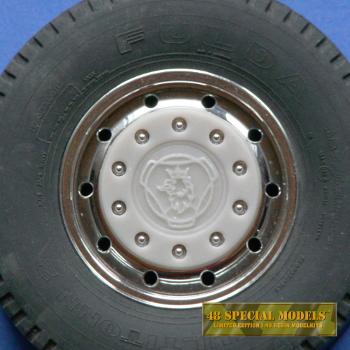 """Scania"" Truck Hub-Cap, with nut protection ring, for Tamiya Cooler Wide Rims, 1 Set, 1/14"