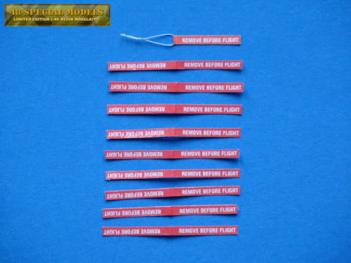 """Remove Before Flight"" Tags, 30x4mm, Kit with 10 pieces, 1/18"