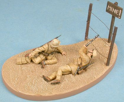 German Infantry DAK  with Base, handpainted diecast figures, 1/48