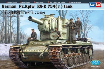 Pz.Kpfw KV-2 754(r), German captured tank, 1/48 scale kit