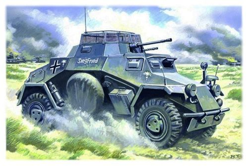 Sd.Kfz.222, German Armored Car, 1/48 scale plastic kit