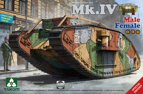 Mk.IV, Heavy Battle Tank, WWI, Male/Female, 2in1 Limited Edition Plastic Kit, 1/35
