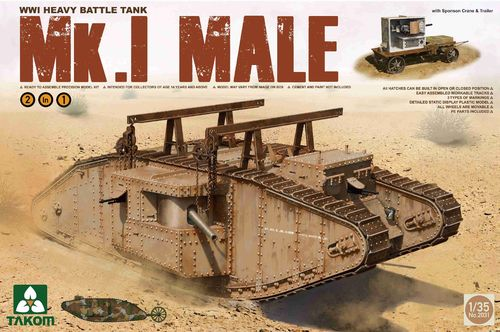 Mk.I male, WWI Heavy Battle Tank, 2in1 Plastic Kit, 1/35