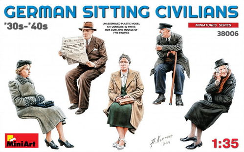 German Sitting Civilians'30s-'40s, Plastic Kit 1/35 scale