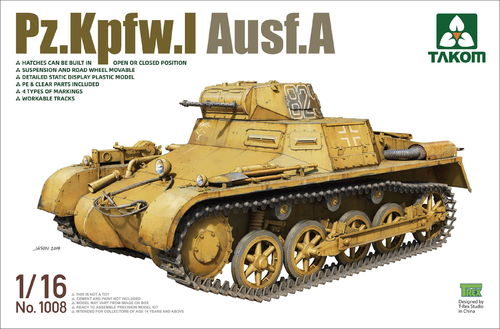 Pz.Kpfw.I Ausf.A, German Tank, Plastic Model Kit 1/16 scale