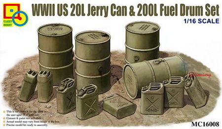 US WWII 20 l Jerry Can & 200 l Fuel Drum Set, Plastic Model Kit 1/16