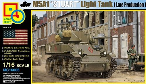 M5A1 Stuart, Light Tank, Late Production, Plastic Model Kit 1/16