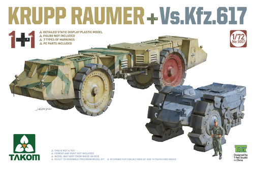 Krupp Räumer und Vs.Kfz.617, German Mine Clearer WWII, 1/72 Plastic Kit