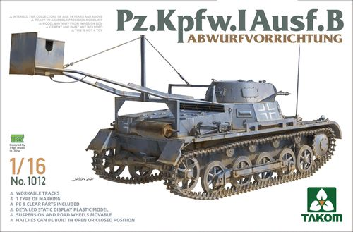 Pz Kpfw I Ausf B mit Abwurfvorrichtung (Charge Dropping Device), German Tank,Plastic Kit 1/16